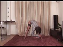 Big breasts gymnast dildoing