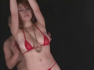 Porn Tube of Busty Babe In Tight Red Bikini Stripping Off And Toyed