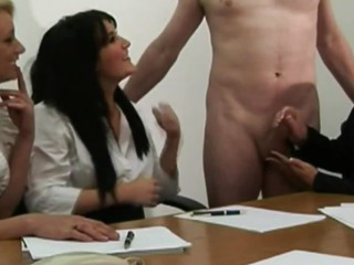 Porno Video of Hot Office Femdoms Tugging On Dick