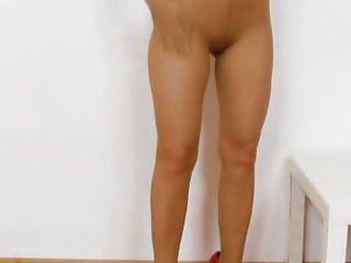 Porno Video of Brunette Rides Dildo In Panty-hose
