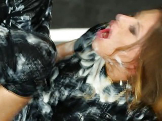Porn Tube of Sexy Facial Babe Getting Bukkake