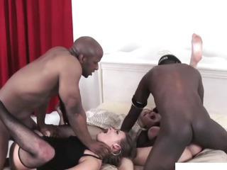 Porn Tube of Ashlynn Leigh Interacial Foursome Fun