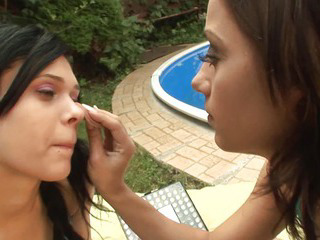 Porn Tube of Sexy Brunette Lesbians Fuck At Poolside