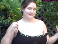 Fat Bbw Playing With Pussy In The Garden