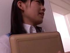 Japanese secretary enjoys her first day