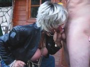 Super Busty MILF Takes a Pee and Sucks a Cock