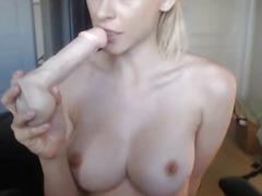 HOT Blonde Strips and Masturbates
