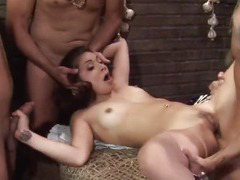 Three hard cocks for Chanel Chavez and her ass