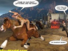 HOW WEST WAS HUNG 3D Gay Cowboys Gangbang Cartoon Anime Comics Hentai