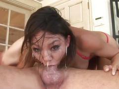 Keanni Lei slobbers as she gobbles dick