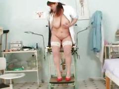Big juggs aged wife wears practical nurse uniform and gets freaky