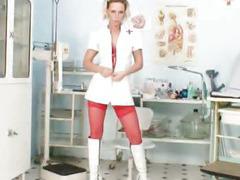 Slutty nurse Gabriela red stockings on hot legs