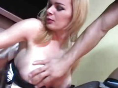 Gorgeous blonde Tgirl gets a double anal