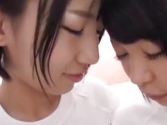 Japanese teens enjoys lesbian action