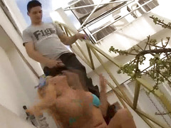 Shemale Daniela gets her cock sucked and fucks a stud