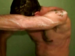 Two gay mature dudes in the shower