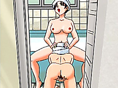 Lesbian hentai licking pussy in the bathroom