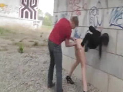 Crazy amateur slut loves fisting in public