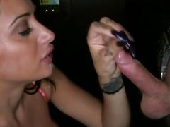 Busty gloryhole blowjob slut cum covered
