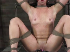Frogtied sub gets pussy clamped open