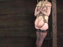 Suspended boxtied sub spanked