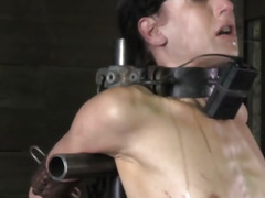 Collared sub getting punished with a cane