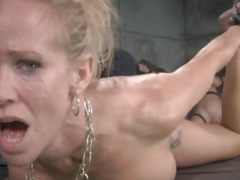 Throatfucked sub gets both holes toyed