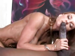 Desperate cougar devours big black cock like a vacuum machine