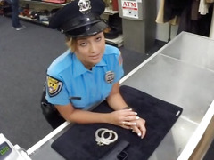 Busty latina babe in uniform fucked by pawn man to earn cash
