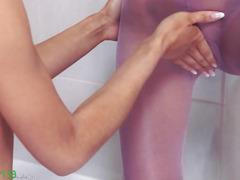 Sweaty girlsongirls enjoy strap in the shower