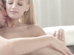 luxury blonde havingsex on white couch