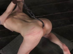 BDSM sub anally hooked and pussy toyed