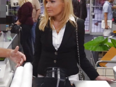 Horny blonde milf pawns her pussy and screwed by pawn man