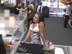 Busty latina sells her phones and fucked by pervert pawn man