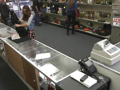 Lusty coed sucks cock and gets fucked hard in the pawnshop