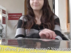 Eurobabe Kristen pussy screwed and cum facialed for money