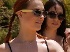 Lesbian babes had an erotic massage after a volleyball play