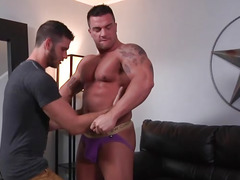 Muscle gays hardcore blow job and ass ripping anal fuck in the black leather seat