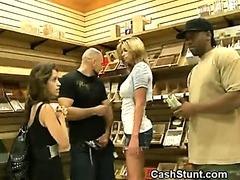 Amateur Brunette Handles Cock For Cash In Stunt