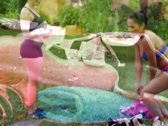 Martial art training of two sexy babes turn into lesbosex