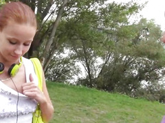 Real amateur Czech girl pussy screwed in public for money