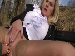 Amateur slut fisted outdoors in the snow