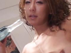 Luna Mikami rubs cock with feet for cum