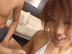 Ayumi Haruna mouth fucked same time by guys