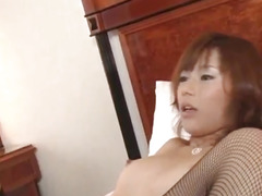 Miki Yamashiro in stockings gets cum in mouth after huge frigging