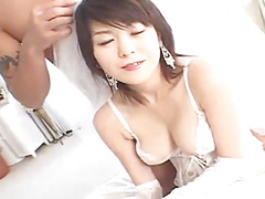 Japanese AV Model in white lingerie gets huge fuck of her pussy