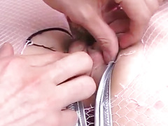 Sakura Nagai gets fingers, vibrators and tools in hairy snatch