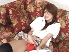 Haruka Sanada is aroused with vibrator and rides sucked phallus