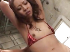 Saki Shimazu gets vibrator in mouth and cocks in oiled dark cunt
