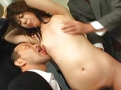 Yumi Takeda is fucked with cocks and vibrator in mouth and pussy